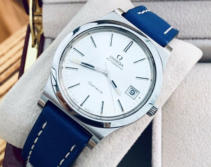 Omega used second hand vintage 1970s day date Geneve cal 1012 stainless steel automatic blue sports strap watch + Box
