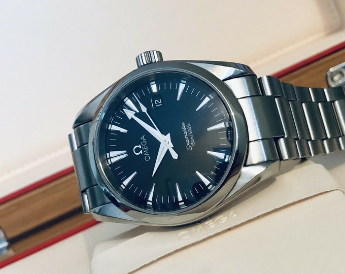 Seamaster Aqua Terra 150M Quartz 36.5 Stainless Black Dial Steel  Bracelet  Mens Gents Cal  1538 Ref 2518.50.00 Quartz Battery + Box