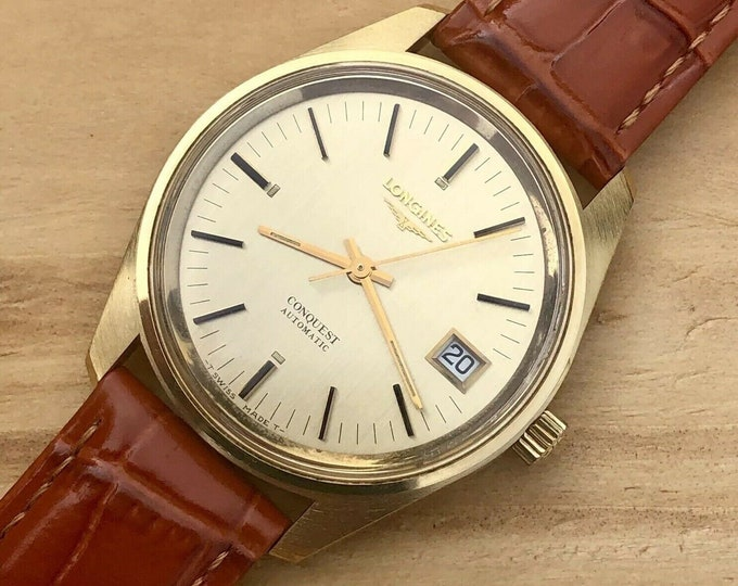 Longines Conquest used automatic gold plated Red Bordeaux Leather watch + Box
