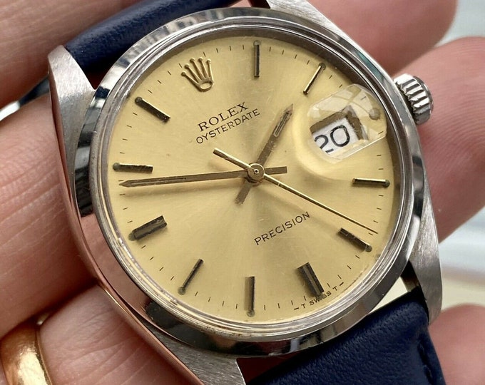 Rolex 1971 Oysterdate Precision Champagne Dial Mechanical 6694 Mens Vintage watch