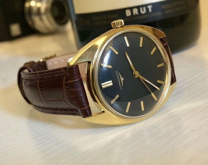 Longines Vintage Mens Gents Watch Case Ref 8305-2 35mm Mechanical Hand Winding Gold Plated Black Dial + Box