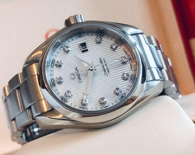 Omega Seamaster Mother of Pearl Aqua Terra 150M Diamond Dial Quartz Lady watch + Box