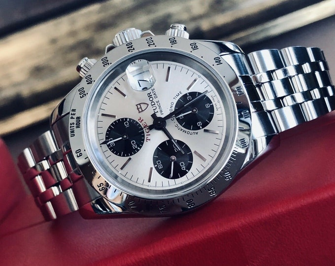 Tudor Tiger Woods Prince Date Full Set Rolex Daytona Panda Dial Mens 40mm paper steel Paul Newman Ref 79280 2003 watch + Box  + Papers