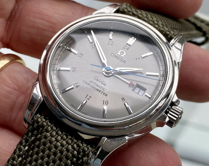 Omega DeVille GMT 48 hrs Mens watch Co-Axial George Daniels Automatic 4833.40 Full Set Grey Dial 39mm Fast Ship + Box