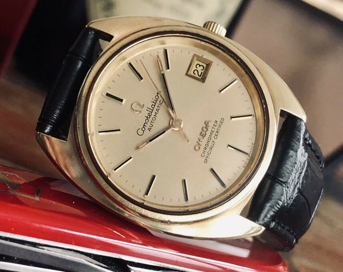 Omega Constellation Automatic Date vintage mens 1972 dress gold watch + Box