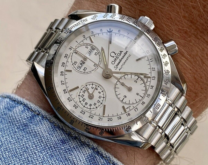 Omega Speedmaster Reduced 39mm Polar White Face Dial Men's Automatic Caliber 1151 Triple date 1995 watch + Box