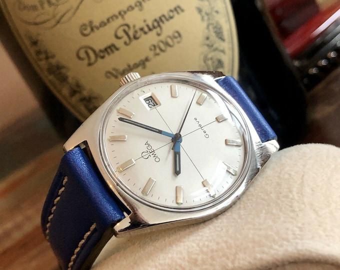 Omega Geneve Geneva Mens Vintage Silver dial 1969 steel dress watch + Box