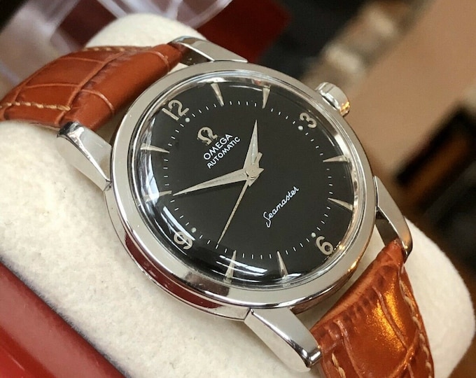 Omega Automatic Seamaster 1954 Mens Vintage Steel calibre 354 Bumper watch + New Box