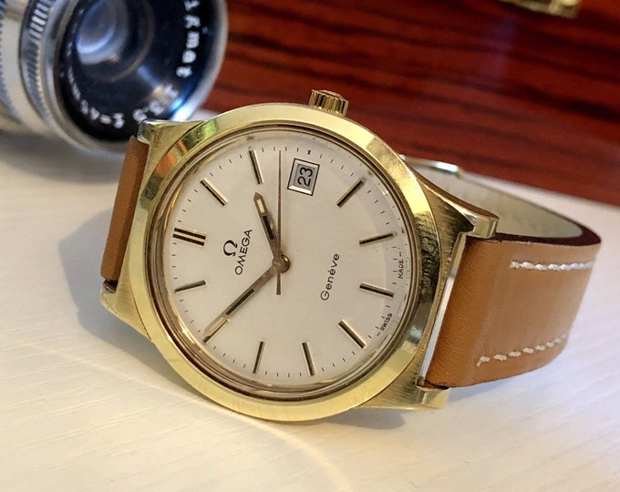 Omega gold vintage date Geneve Geneva cal 1030 mechanical Mens watch tan brown leather + Box
