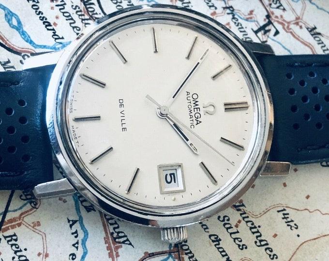 Omega vintage 1973 Mens De Ville Automatic Steel Date Jumbo 35mm watch + Box