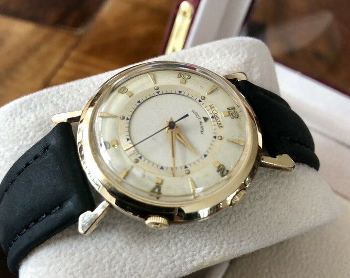 Jaeger-LeCoultre Memovox Movement Alarm Mechanical Cal 814 Vintage Men's Watch 1950 to 1959 34mm 10K Gold Filled + New Box
