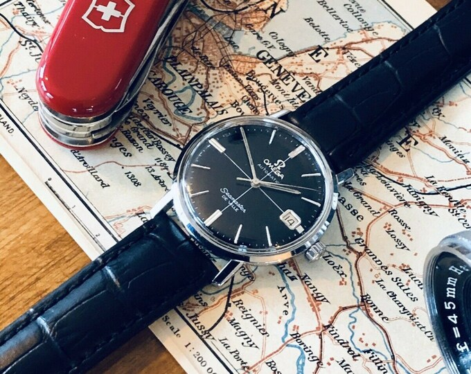 Omega Mens Seamaster De Ville Automatic Black Crosshair Mad Men Don Draper vintage caliber 562 serviced watch + Red Box