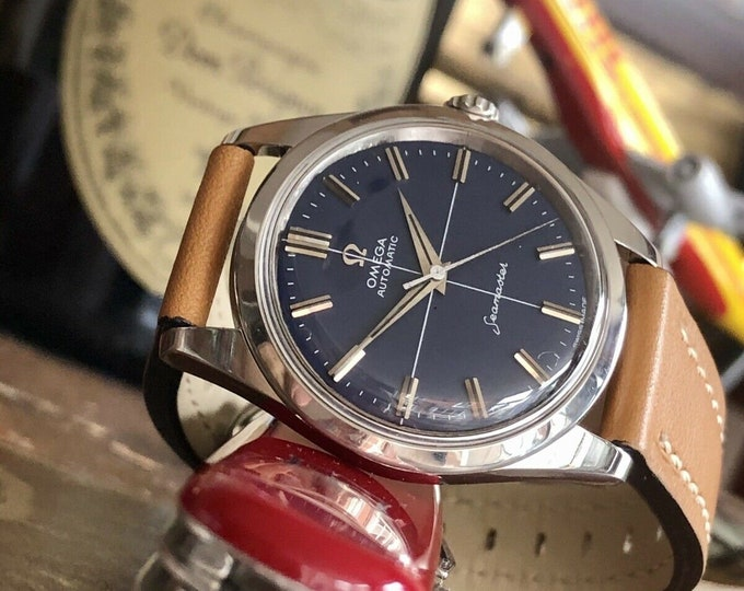 Omega 1961 Mens vintage watch Seamaster Automatic Blue Dial men's vintage stainless steel watch serviced July 2020 + New Box