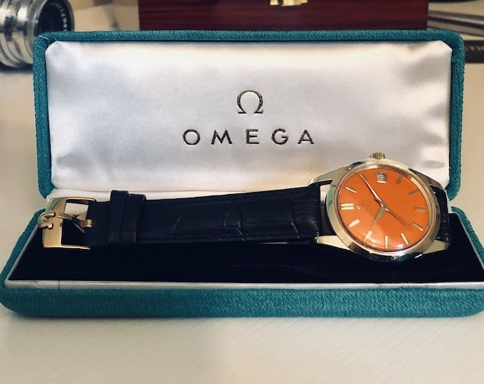 Omega Seamaster Orange Dial vintage watch cal 562 automatic 14K gold capped case 1962 Men's wristwatch + Original Box