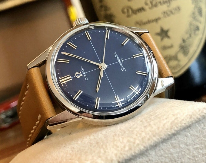 Omega Seamaster 30 Stainless Steel Blue Dial Face Mens Vintage 1963 watch in stunning condition + Box