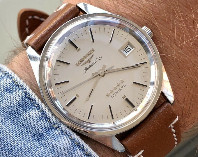 Longines Admiral 5 Star Mens 35mm automatic steel Leather serviced August 2020 vintage used second hand watch + New Box