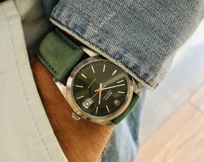 Rolex 6694 Oysterdate 1966 34mm Steel Mens vintage Green Dial Serviced watch + new suede leather strap