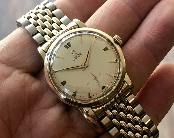 RARE Omega Mens Gold Steel Rice bracelet Sub Dial Automatic Bumper Calibre 342 vintage Mens watch 1950 + New Box