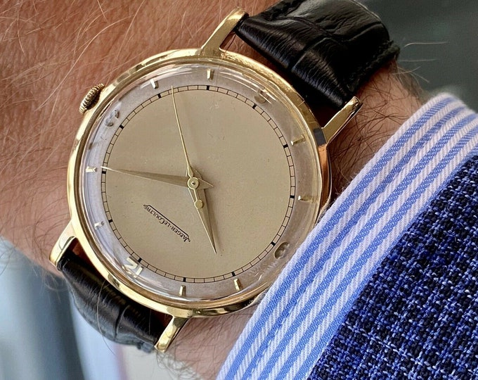 Jaeger Lecoultre JLC Men Gold Solid 18K 750 Gold antique second hand winding 35mm Jumbo vintage size watch