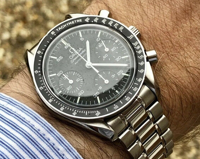 Omega Speedmaster Automatic Reduced Chronograph Moonwatch Moon Watch 175.0032 Cal 1143 Men's Automatic Tachymeter Date Black Dial Face + Box