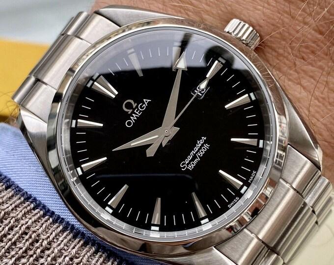 Omega Seamaster Aqua Terra 150M Quartz 39.2mm Stainless Black Dial Steel Bracelet  Mens Gents Quartz Battery + Box + Card / Papers