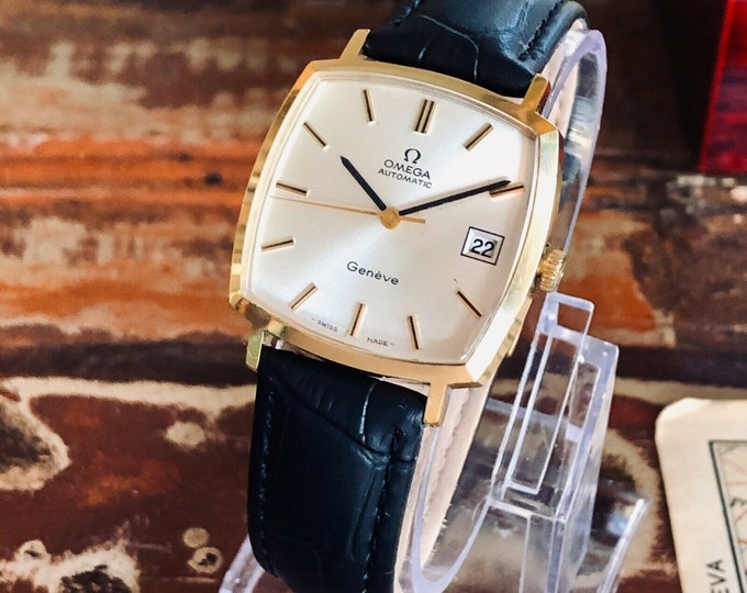 Omega Mens 1970s vintage Geneve used Square Dial Automatic Gold Date watch + Box