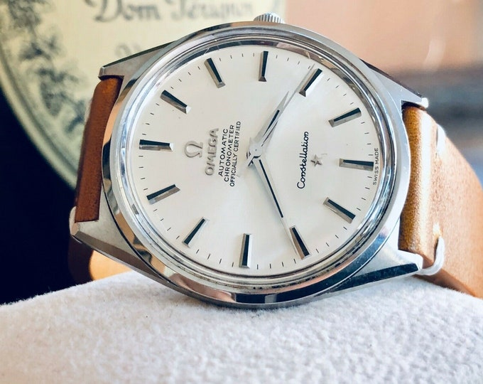 Omega Constellation Chronometer Automatic Date vintage mens 1960s dress steel 34mm watch + Box