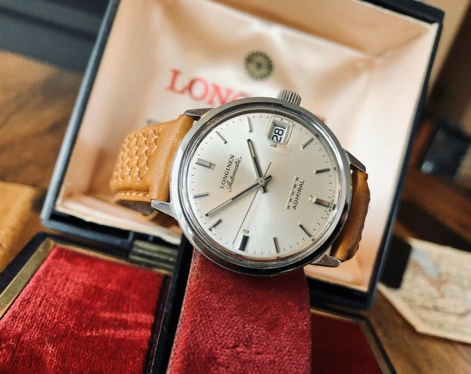 Longines Admiral used automatic second hand vintage 1975 Leather watch + Original Box