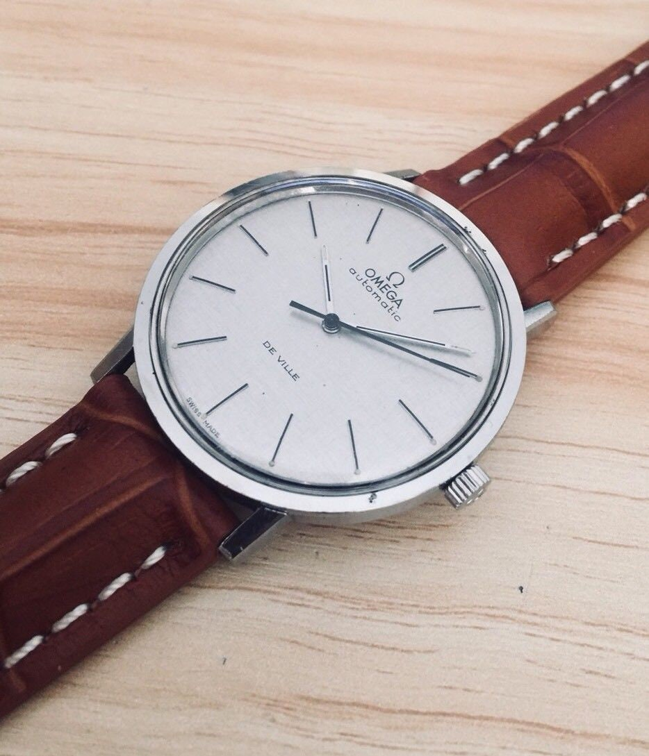 Omega 1962 Vintage De Ville Watch Cal 711 Automatic Leather Strap Steel Second Hand Wristwatch Box