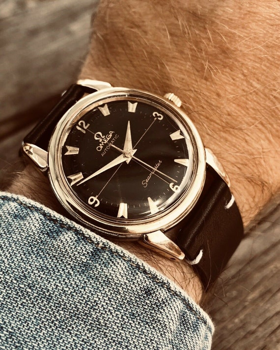 Omega Seamaster 1954 vintage black dial crosshair automatic bumper Cal 354  mens gold watch + box