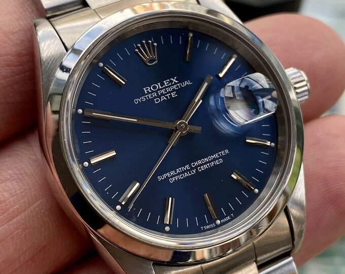 Rolex Oyster Date Perpetual Blue Dial Ref 15200 Men's used 1995 W watch Full Set Box and Papers