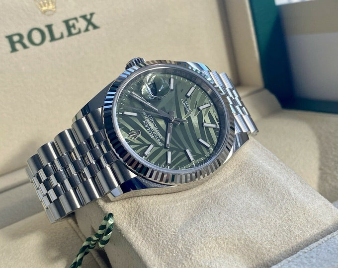 Rolex DateJust 36mm Green Palm Olive Dial Stainless Oyster 126200 Men's July 2021 watch