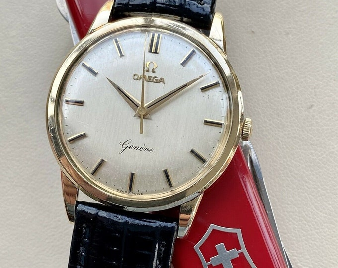 Omega Geneve Hand Winding Solid 9K Gold Mens Vintage 1962 watch + Box Papers
