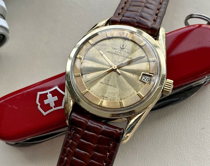 Universal 1960s Geneve Polerouter Gold Plated Microtor Automatic 69 vintage mens serviced October 2021 watch