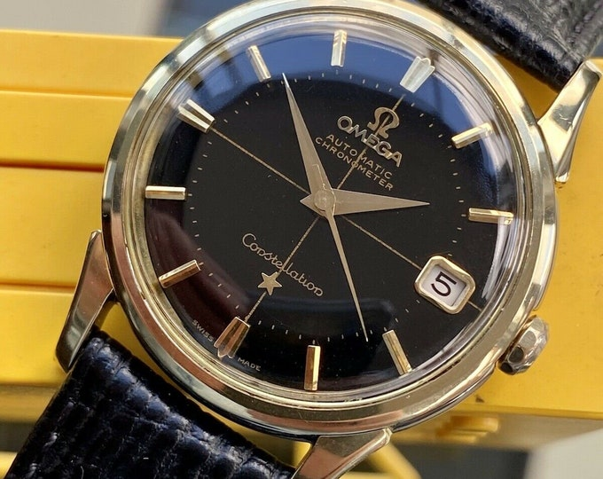 Omega Constellation Automatic Black Dial Gold Pie Pan Mens Vintage 1961 serviced July 2021 watch