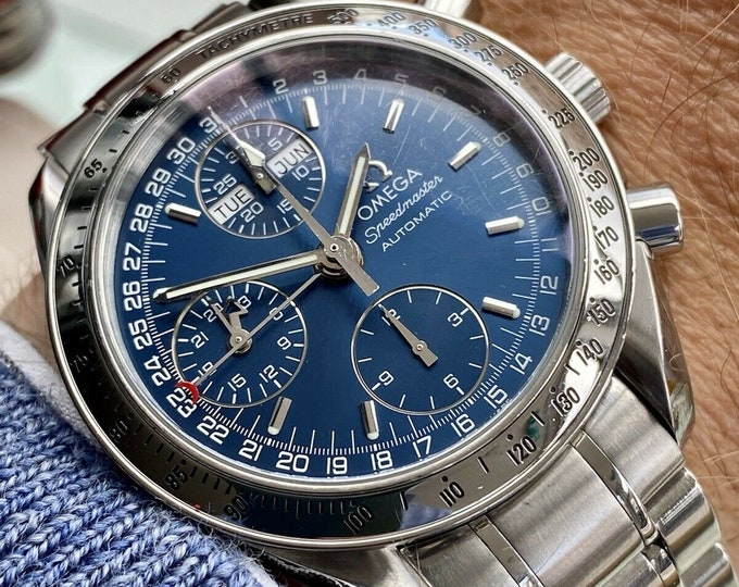 Omega Speedmaster Reduced 39mm Navy Blue Face Dial Men's Automatic Caliber 1151 Triple date card and box watch