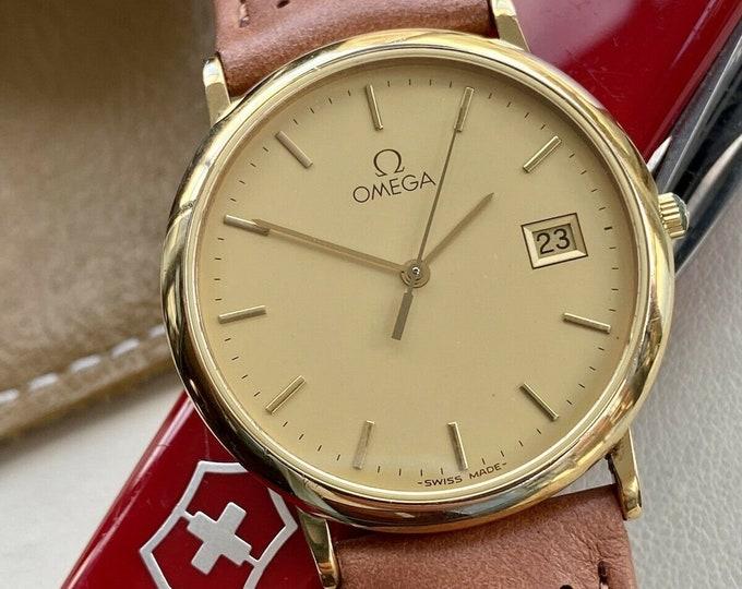 Omega Gold Plated De Ville Steel Mens Vintage Quartz Battery dress used 1980s watch