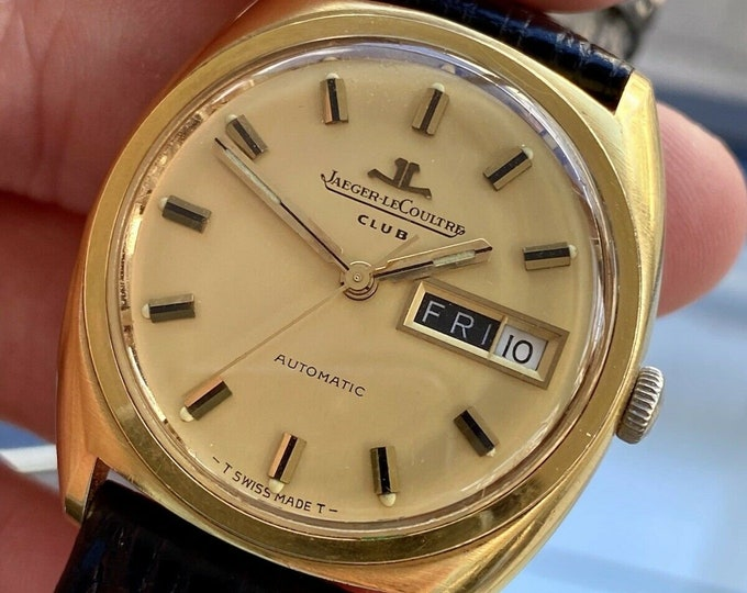 Jaeger-LeCoultre Club Gold Vintage Day Date Automatic Day Date Mens Gold Box Papers Watch