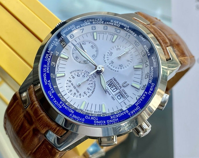 Universal Geneve Polar Compax Vintage Steel papers box Date Men's NOS Full Set 3/100 Limited Edition watch