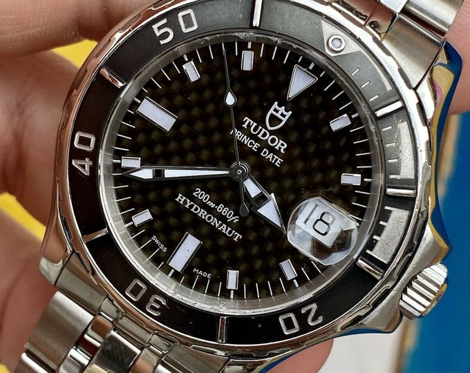 Tudor Tiger Prince Date Hydronaut 89190 Mens 40mm steel 200m watch papers + Box