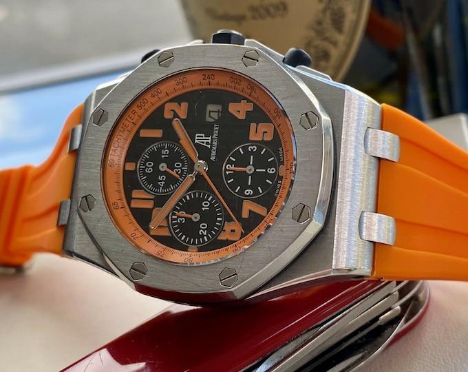 Audemars Piguet Royal Oak Offshore Black Orange Dial Volcano Mens 42mm Chronograph Watch