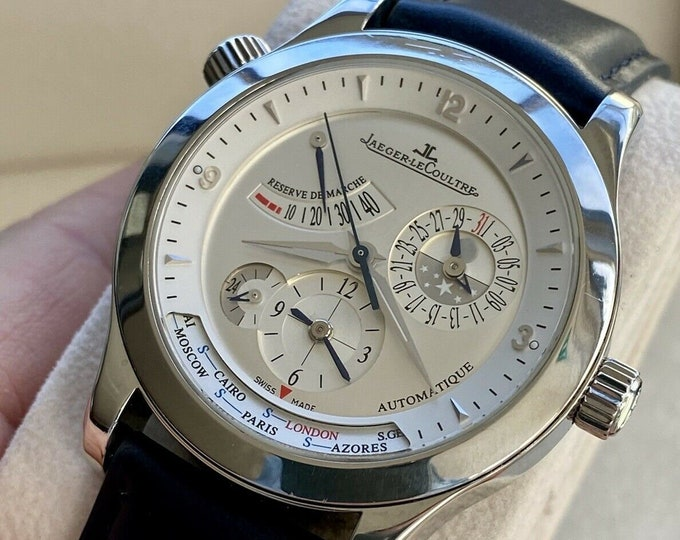 Jaeger Lecoultre Master Geographic 147.8.57.S Automatic Box 24 City Men's Steel 40 Hour Power Reserve 39mm Watch