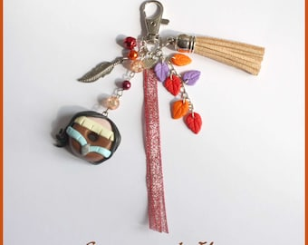 Pocahontas donut polymer clay, beads, Ribbon and tassel keychain