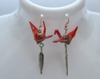 Earrings origami cranes