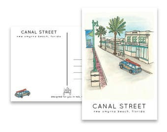 Postcard of Canal Street, New Smyrna Beach, Florida
