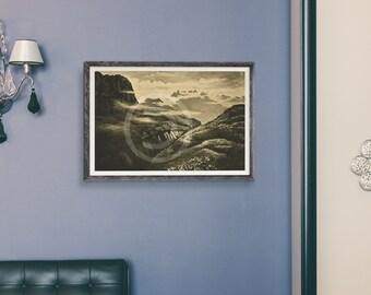 African Vintage Mountain Scenes