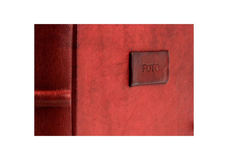 Hand Made in Italy by Legatoria Toscana H20xL20 Tuscan Handcrafted Photo Album Bound in Leather Red Leather Collection