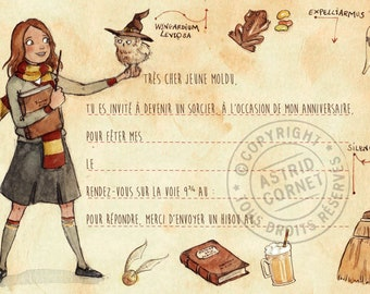 Hermione Harry Potter themed birthday card