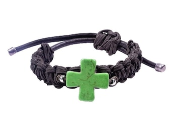 Bracelet with green cross