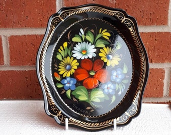 Vintage Russian Folk Art: Metal, Hand-Painted, Enamelled Tray with Flowers